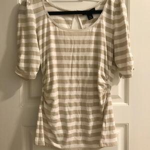 Metallic stripped 3/4 sleeve shirt with ruching
